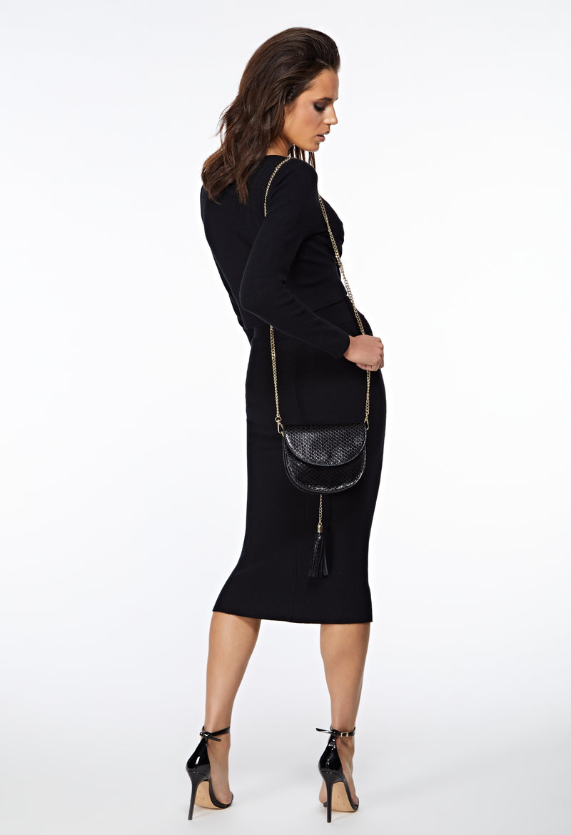 The Thea Knitted Black Straight Midi Skirt styling ideas