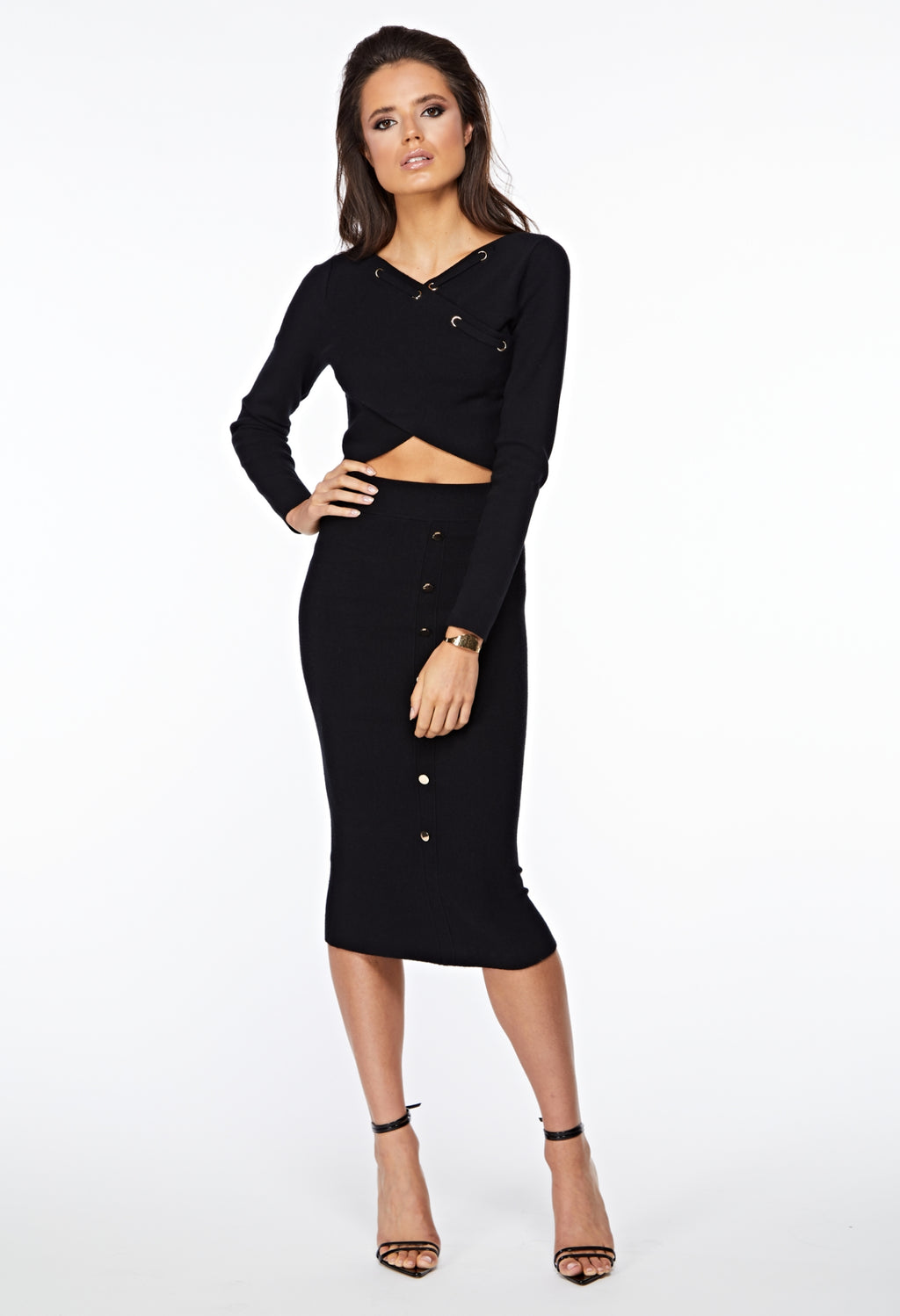 The Thea Knitted Black Straight Midi Skirt