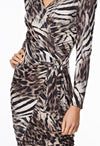 The Nyx Leopard Zebra Print Wrap Ruche Dress Close up