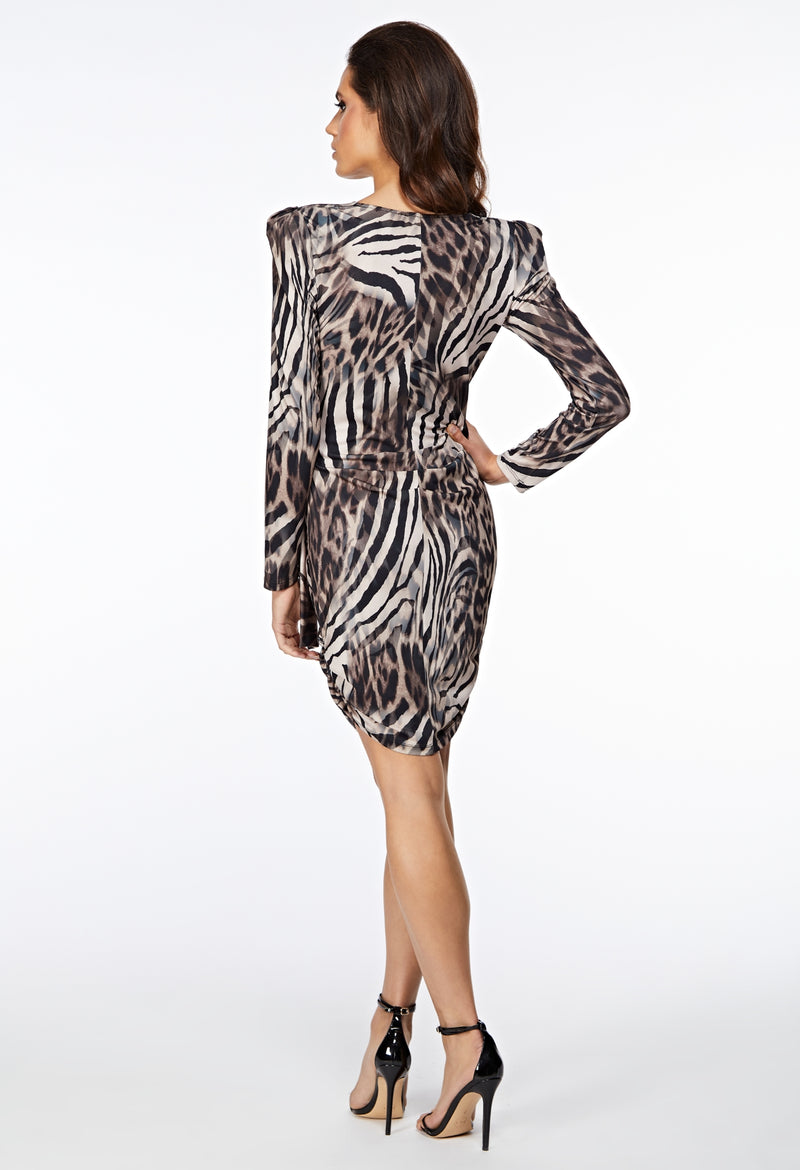 The Nyx Leopard Zebra Print Wrap Ruche Dress Back