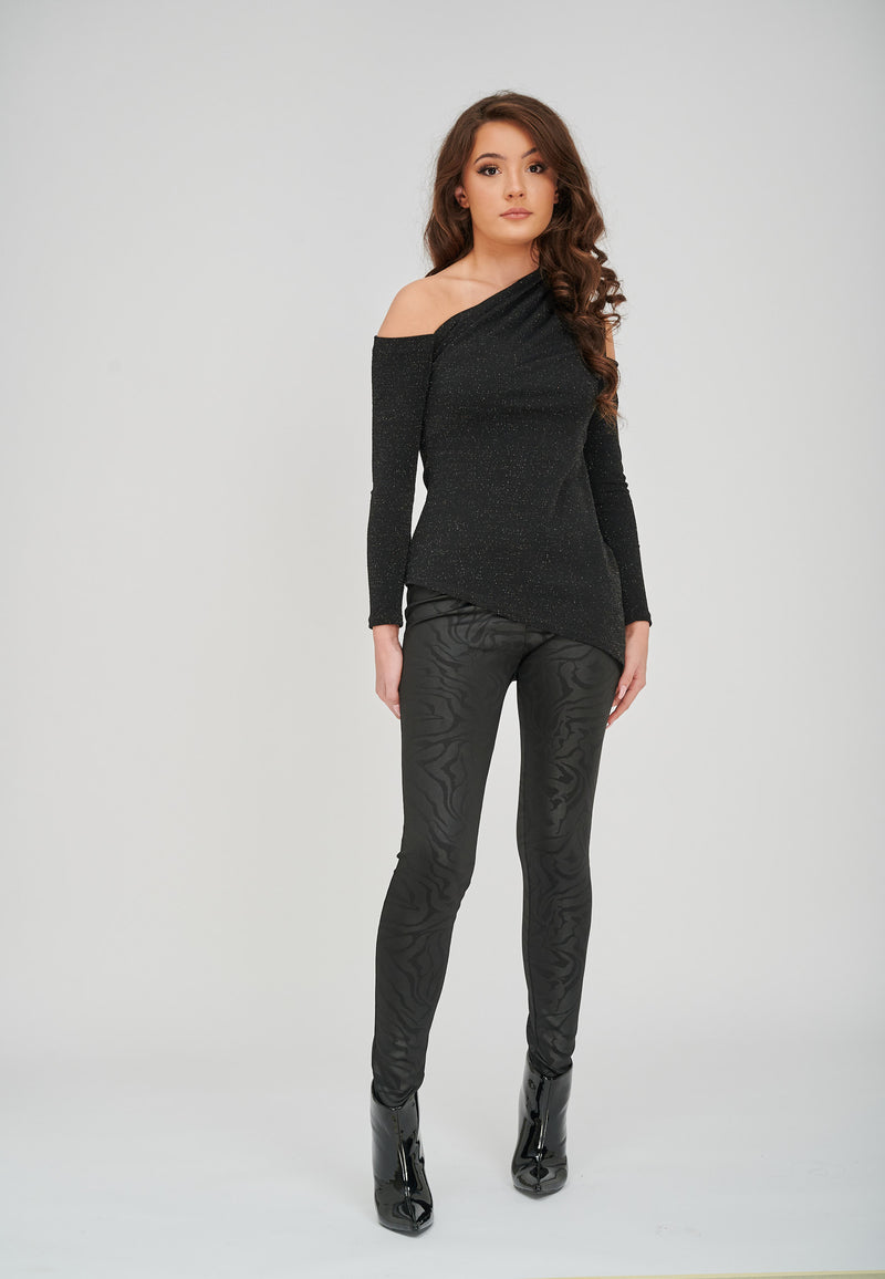 The Diona Black Embossed Print Leggings