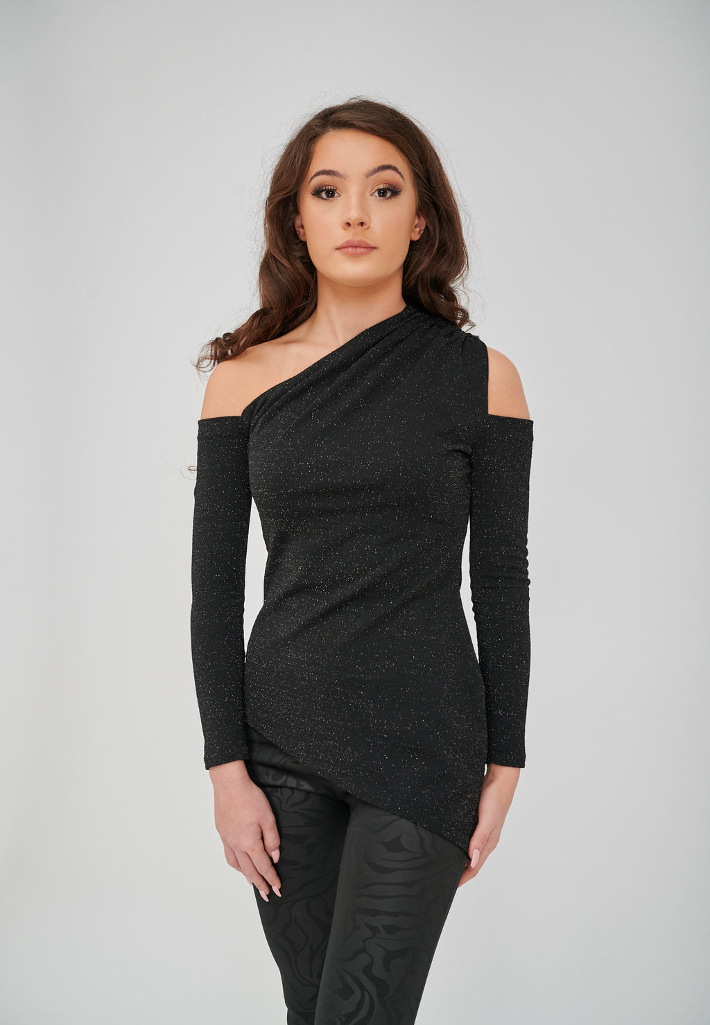 The Sofia Lurex Cold Shoulder Asymmetric Top