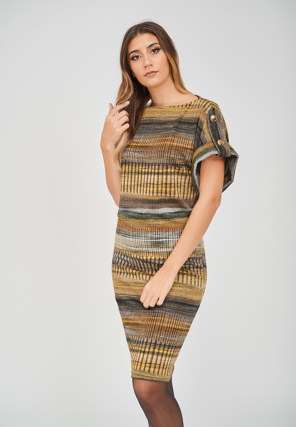 The Zoe Stripe Print Jacquard Dress Casual Styling
