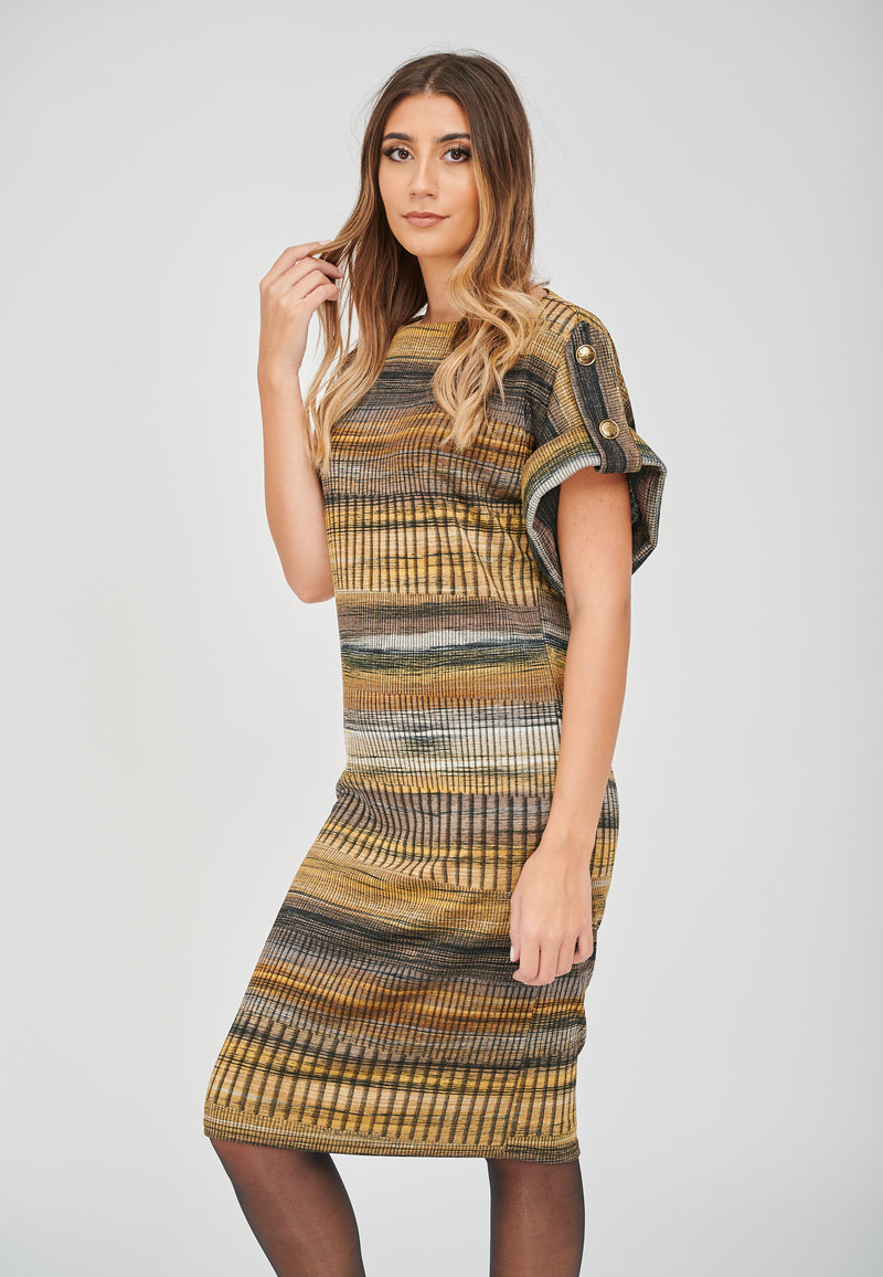 The Zoe Stripe Print Jacquard Dress Styled With Tights