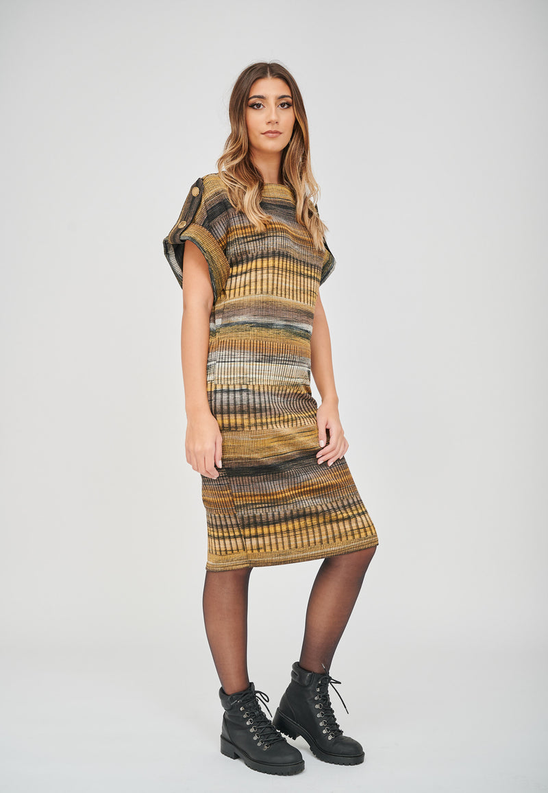 The Zoe Stripe Print Jacquard Dress Dressed down with Combat Boots