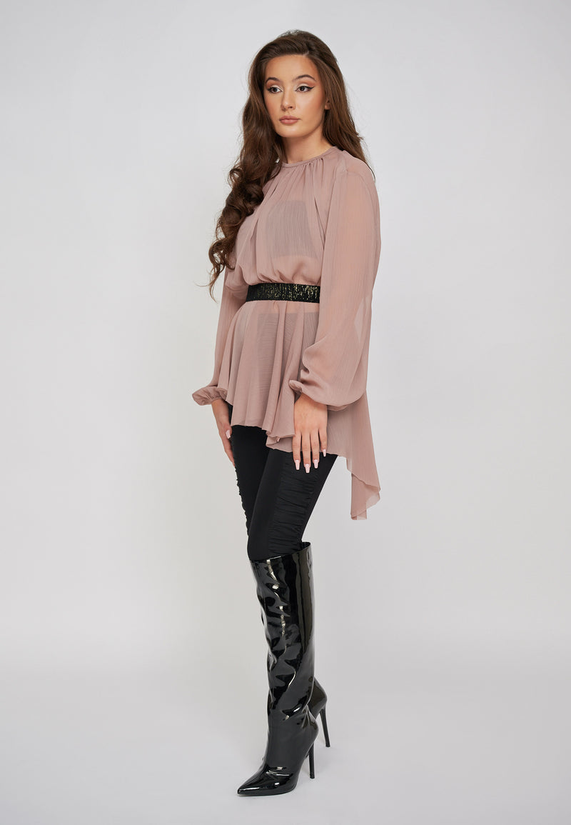 THE SARA CHIFFON ROSE ASYMMETRIC TOP