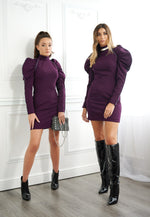 The EOS Purple Dress With Grey Velvet Piping Look Book Shoot