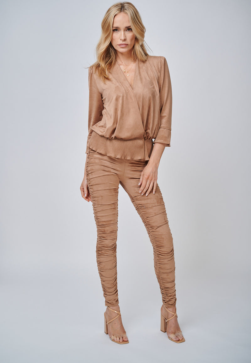 The Larissa Camel Crystal Pleated Suede Look Wrap Top