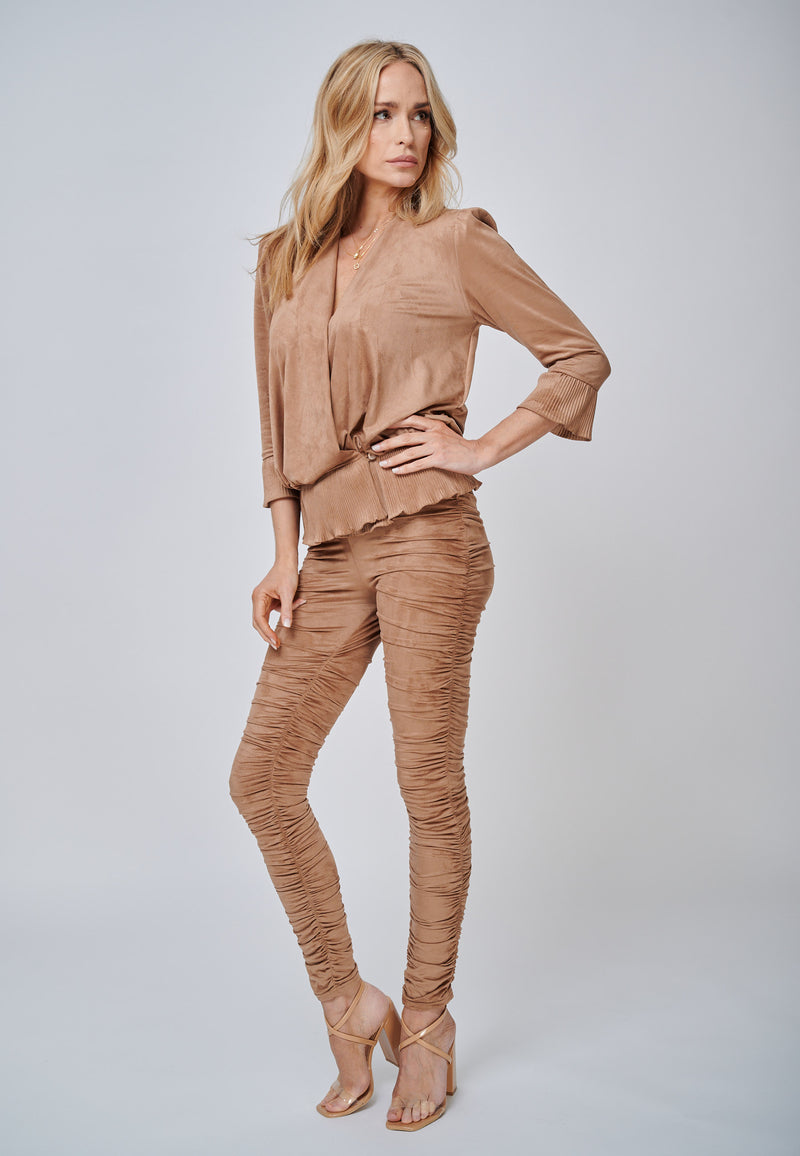 Yan Neo The Hebe Camel Ruched Suede-Look Trouser Leggings