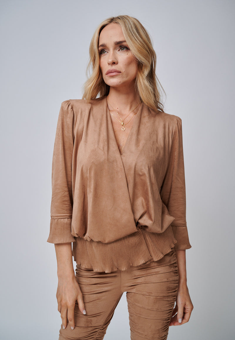Yan Neo The Larissa Camel Crystal Pleated Suede Look Wrap Top