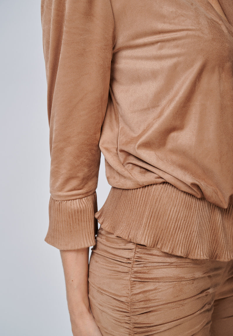 Yan Neo The Larissa Camel Crystal Pleated Suede Look Wrap Top Detail