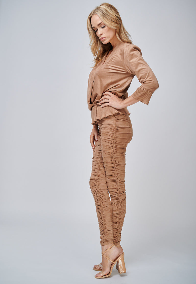 Yan Neo The Hebe Camel Ruched Suede-Look Trouser Leggings Side Mood Shot