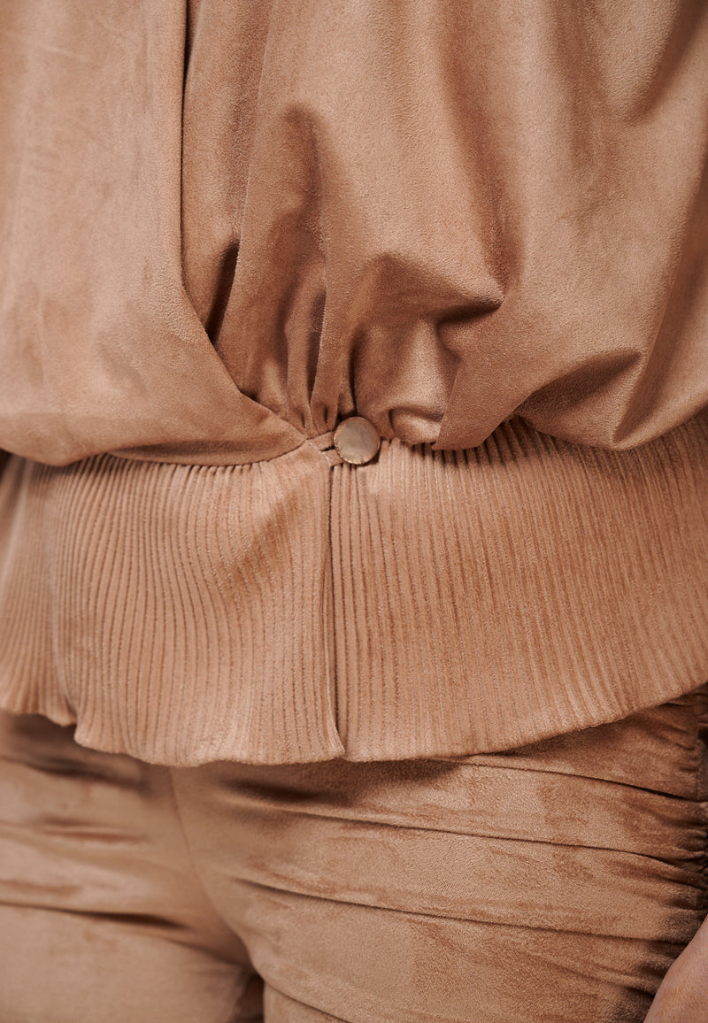 Yan Neo The Larissa Camel Crystal Pleated Suede Look Wrap Top Button Detail