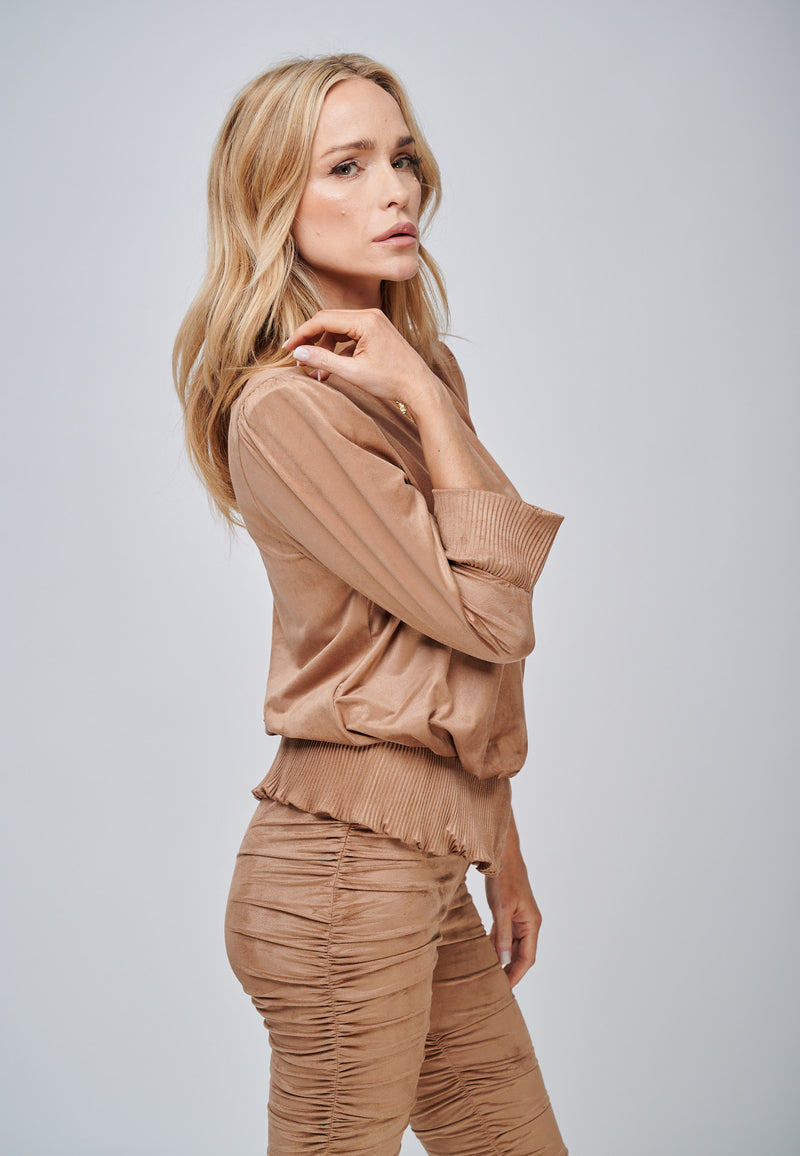 Yan Neo The Larissa Camel Crystal Pleated Suede Look Wrap Top Side View