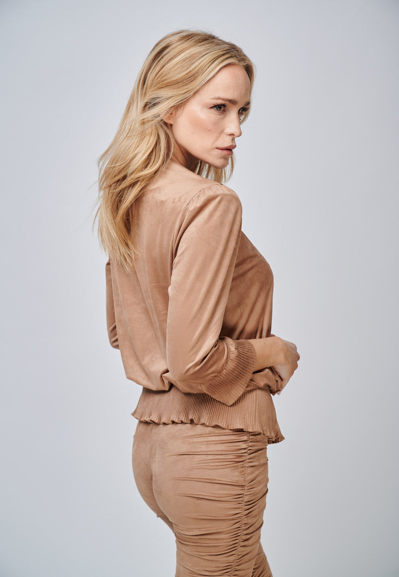 Yan Neo The Larissa Camel Crystal Pleated Suede Look Wrap Top Back
