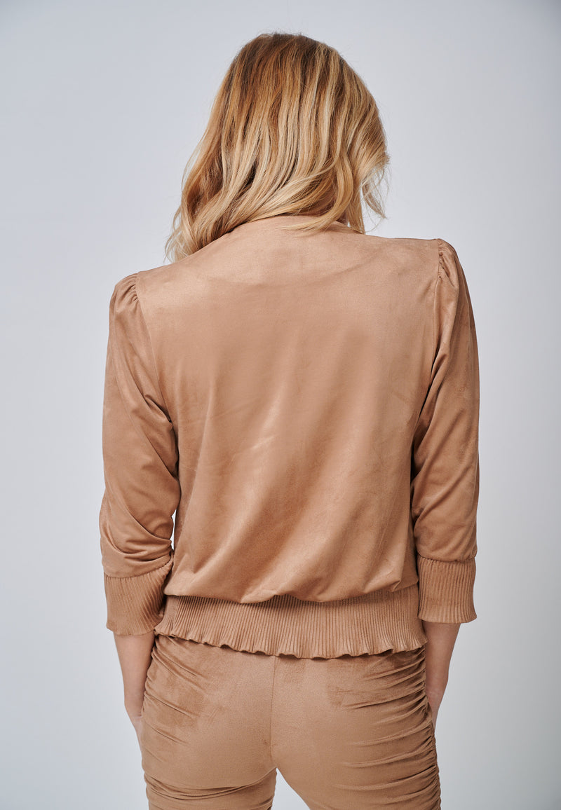 Yan Neo The Larissa Camel Crystal Pleated Suede Look Wrap Top Full Back View