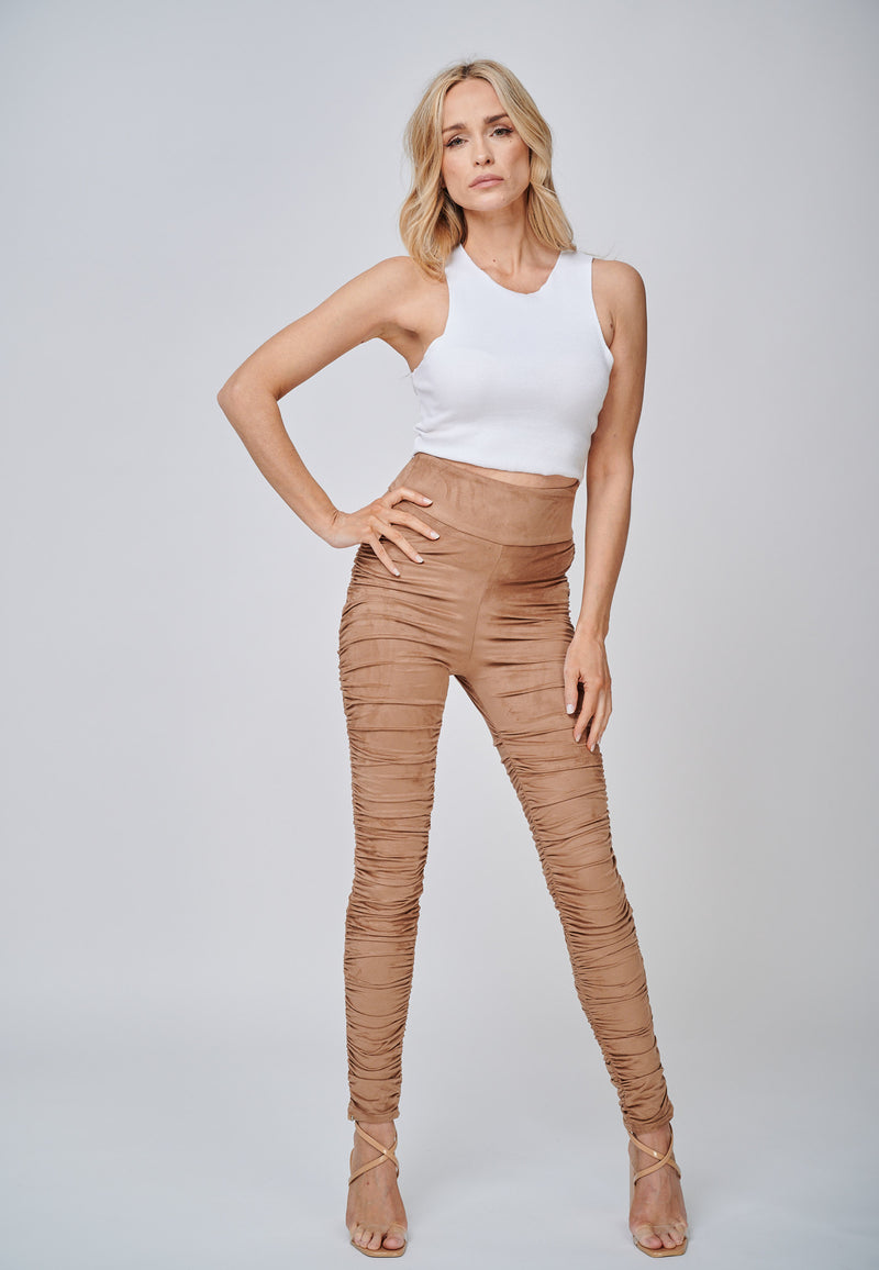 Yan Neo The Hebe Camel Ruched Suede-Look Trouser Leggings Casual