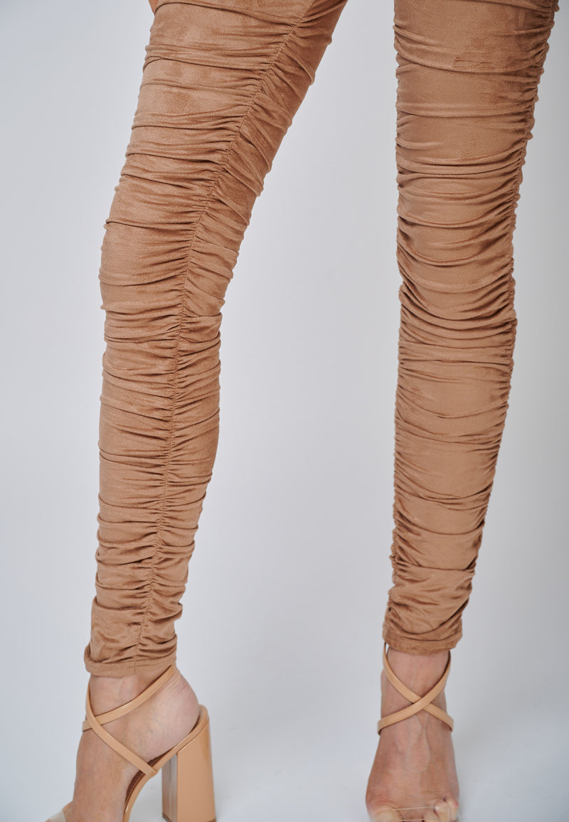 Yan Neo The Hebe Camel Ruched Suede-Look Trouser Leggings Detail