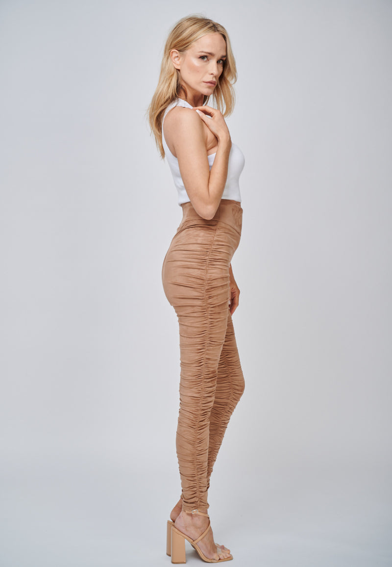 Yan Neo The Hebe Camel Ruched Suede-Look Trouser Leggings Summer Style
