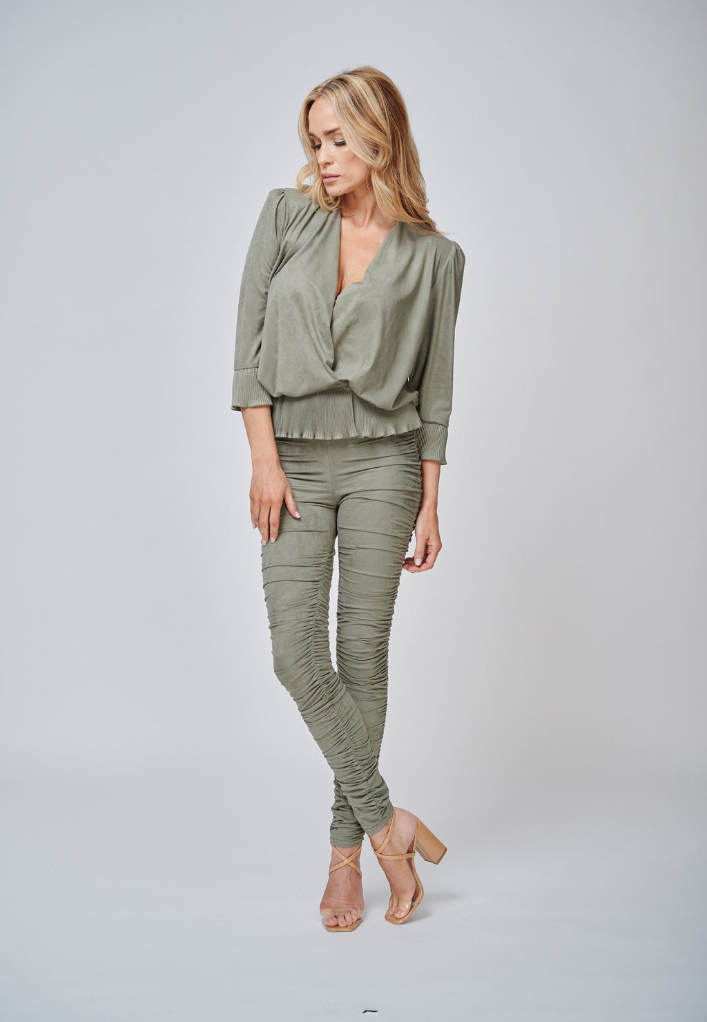Yan Neo The Hebe Khaki Ruched Suede-Look Trouser Leggings