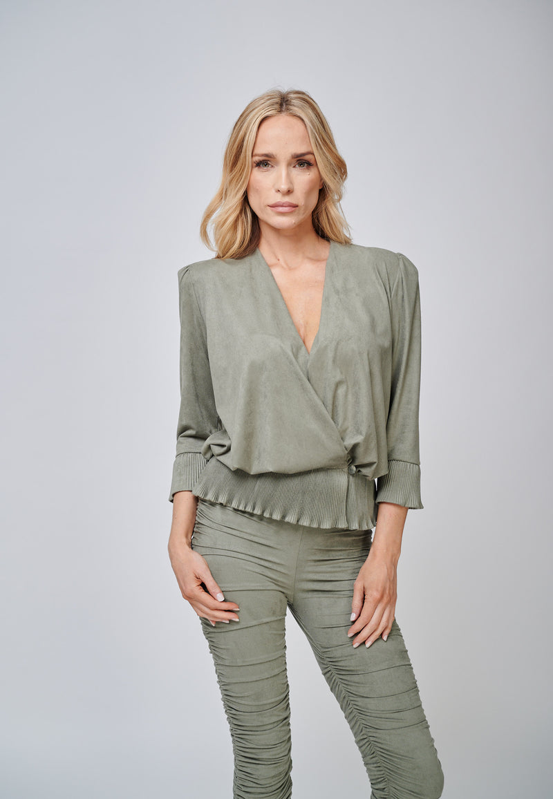 Yan Neo The Larissa Khaki Crystal Pleated Suede Look Wrap Top