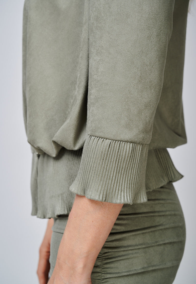 Yan Neo The Larissa Khaki Crystal Pleated Suede Look Wrap Top Detail Sleeve