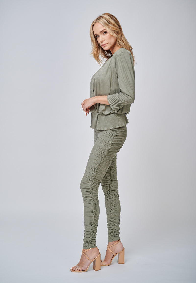 Yan Neo London The Hebe Khaki Ruched Suede-Look Trouser Leggings Side View