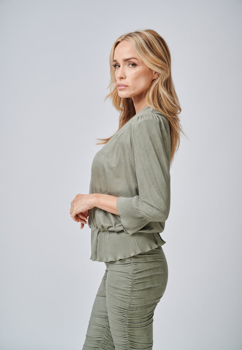 Yan Neo The Larissa Khaki Crystal Pleated Suede Look Wrap Top Side