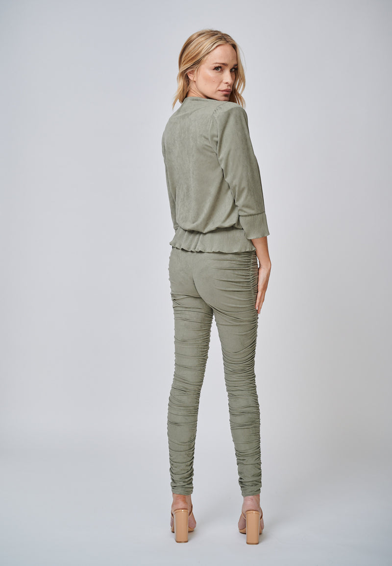 Yan Neo London  Hebe Khaki Ruched Suede-Look Trouser Leggings Back View