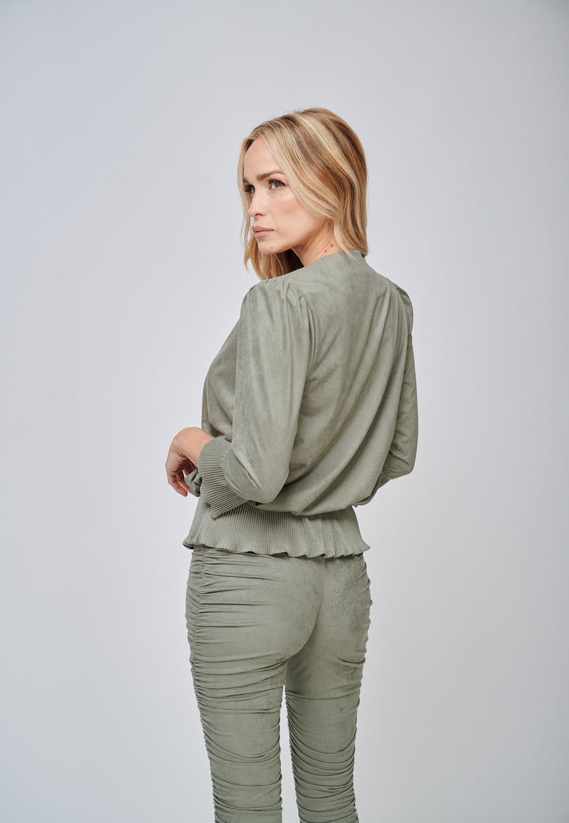 Yan Neo The Larissa Khaki Crystal Pleated Suede Look Wrap Top Back