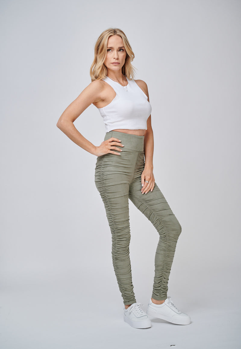 Yan Neo The Hebe Khaki Ruched Suede-Look Trouser Leggings Casual Look