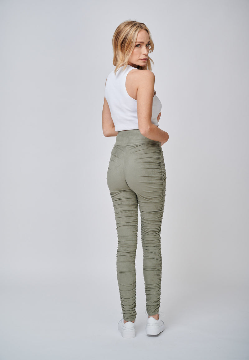 Yan Neo The Hebe Khaki Ruched Suede-Look Trouser Leggings Back View Casual