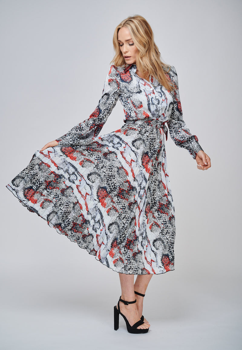 The IRIS Print Multi Coloured Pleated Shirt Dress