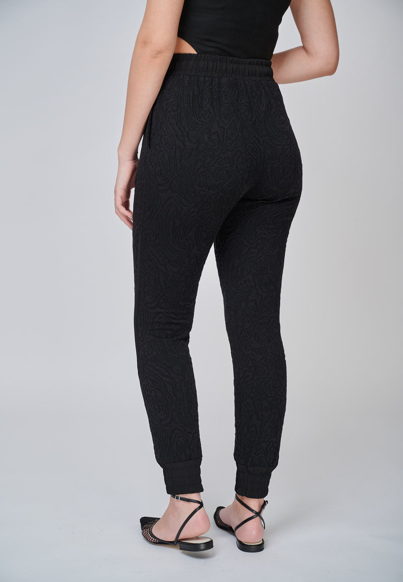 The Thalia Black Jersey Jacquard Luxe Trouser Jogger