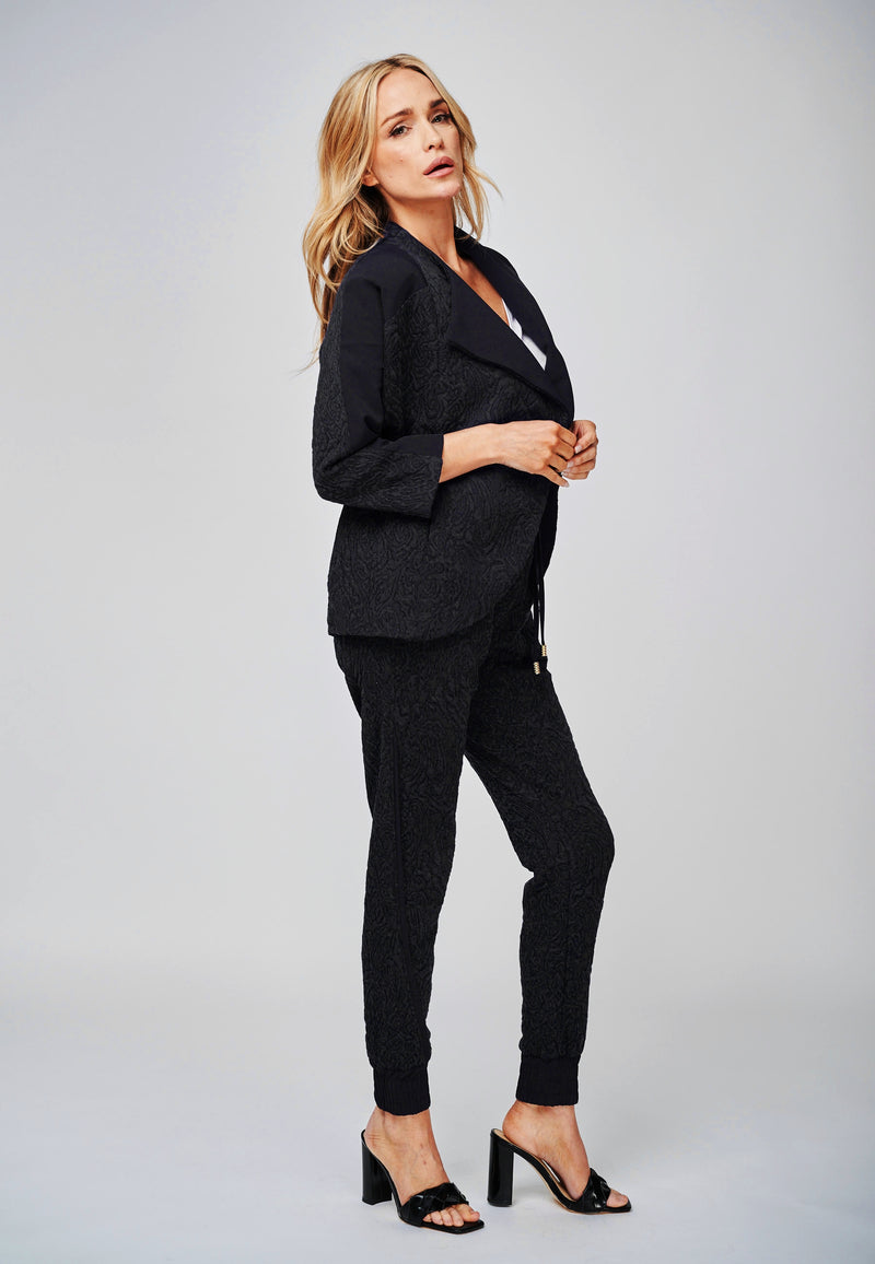 The Rhea Black Jersey Jacquard Blazer Jacket