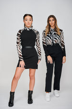 The EOS ZEBRA Print Sleeved Black Dress Dressed down Zebra Print Collection