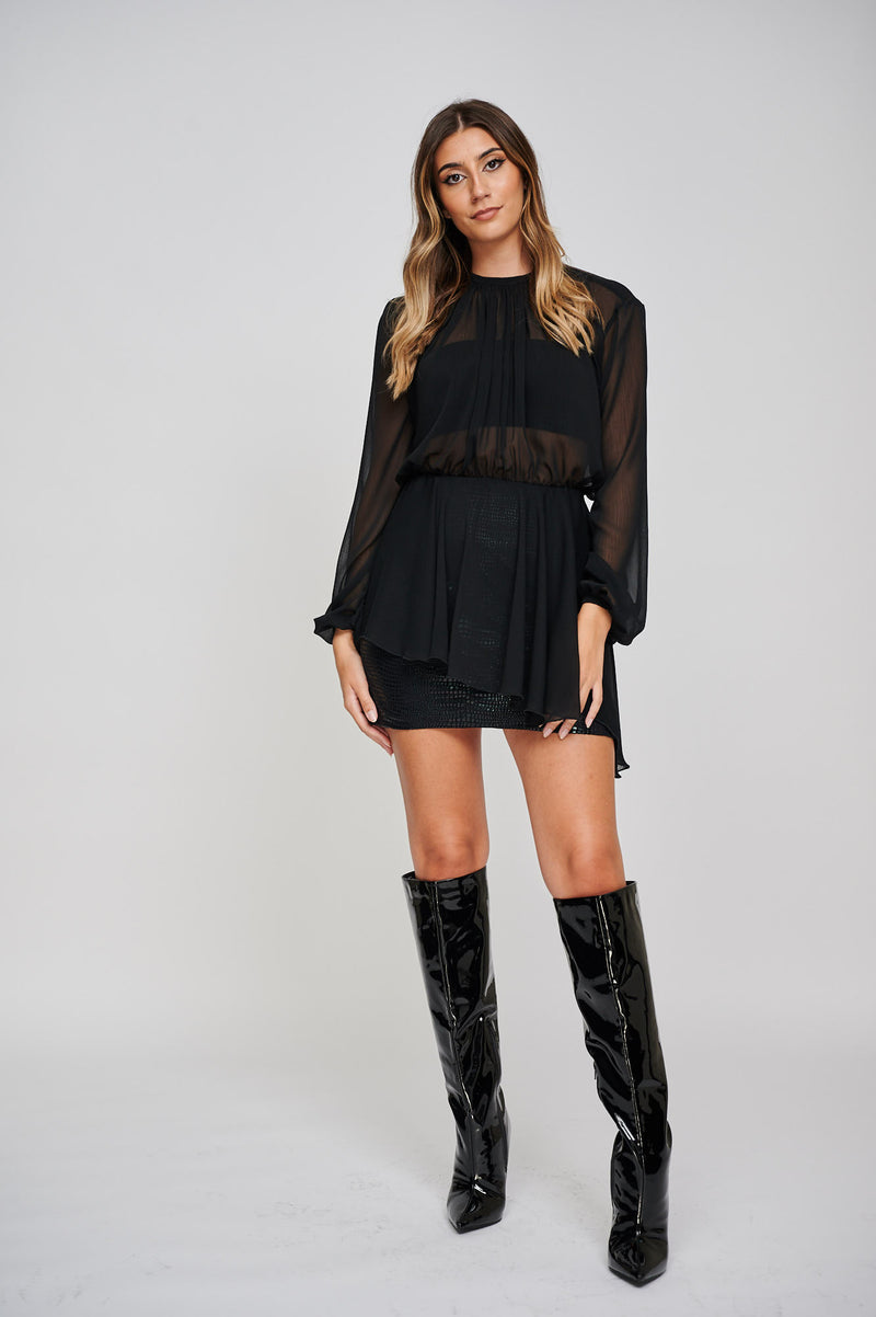 The Sara Gathered Chiffon Black Asymmetric Top