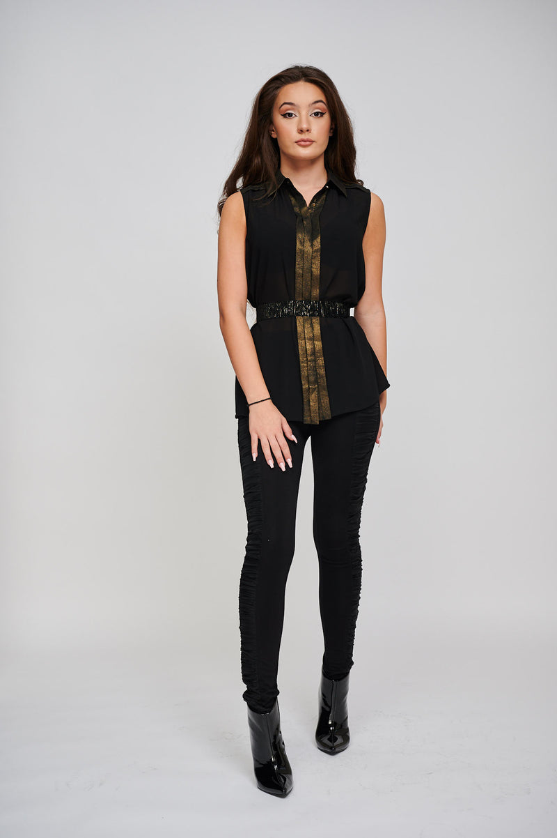 The Jean Black & Gold Shimmer Panelled Shirt