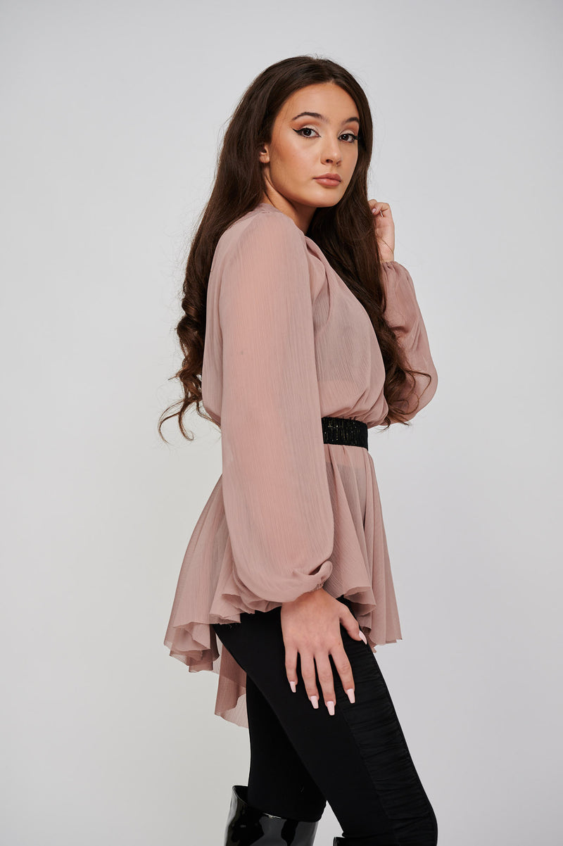 THE SARA CHIFFON ROSE ASYMMETRIC TOP SIDE VIEW