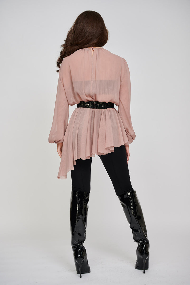 THE SARA CHIFFON ROSE ASYMMETRIC TOP BACK VIEW