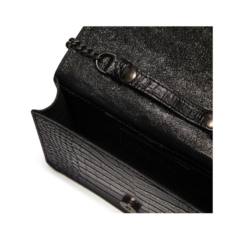 The Kali Black Crocodile Print Leather Bag Internal