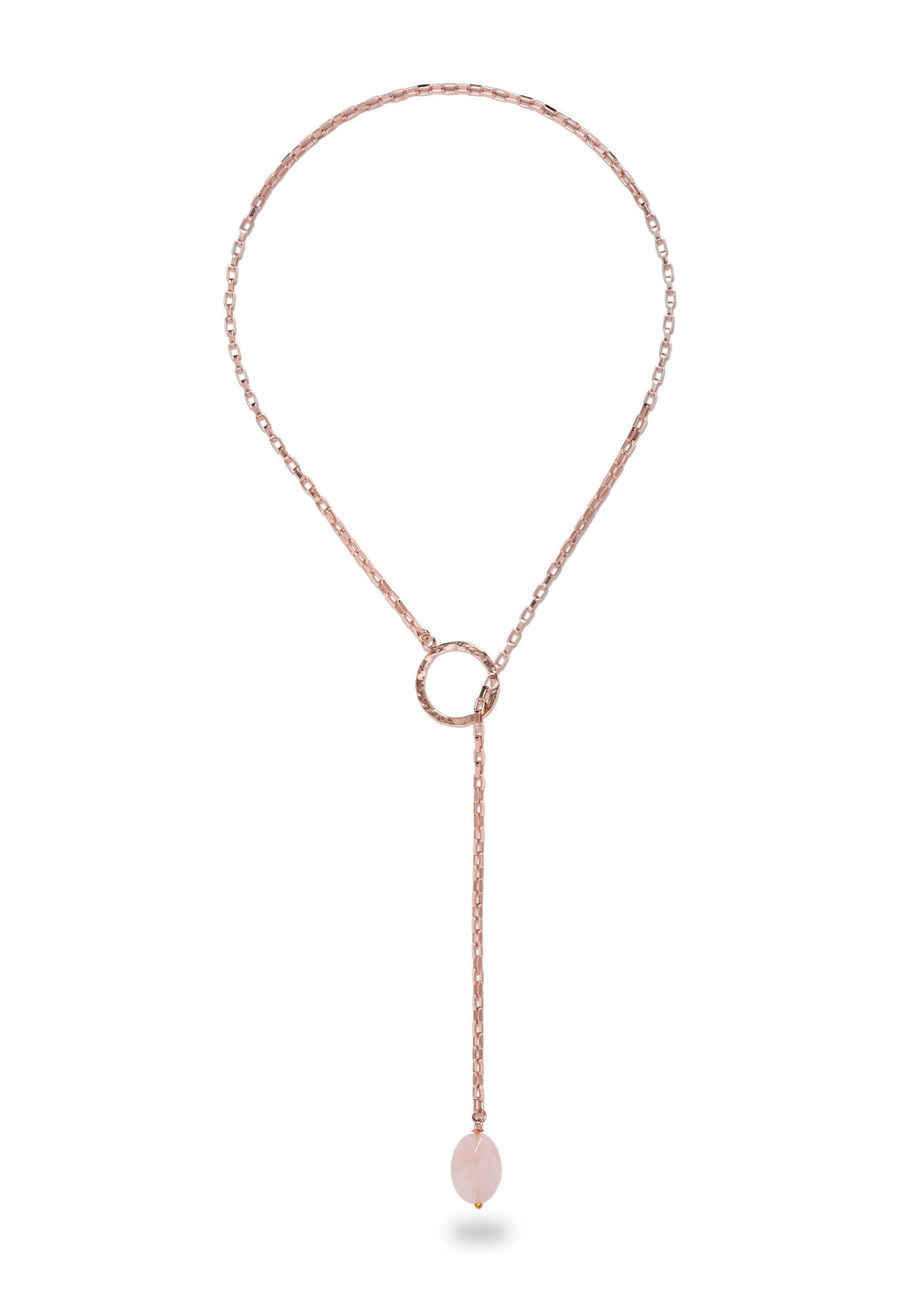CHARA Rose Gold Lariat with Rose Quartz Necklace