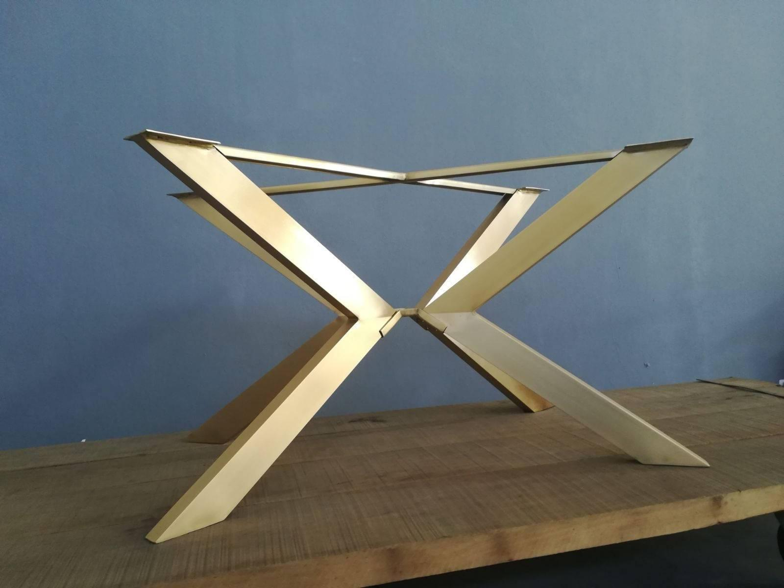 Pleasant 28 H 24 W X 46 L Tug Brass Modern Table Base Home Interior And Landscaping Ponolsignezvosmurscom