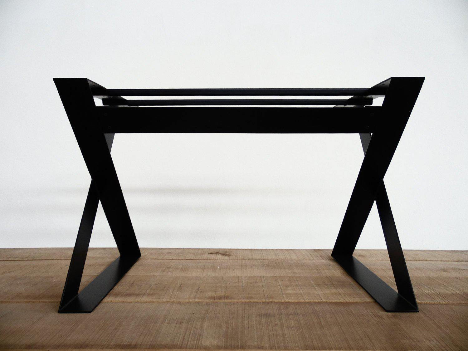 X Frame Wide Flat Steel Long Table Base Metal For Modern Dining Rooms