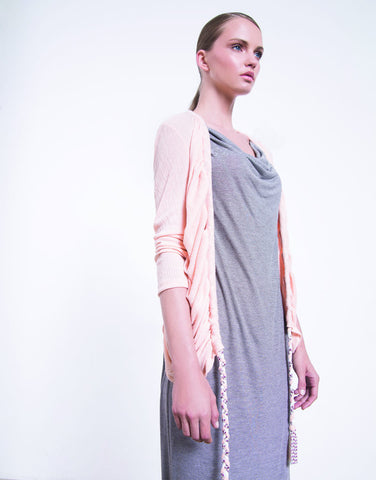 Draped Braid Cardigan - Peach