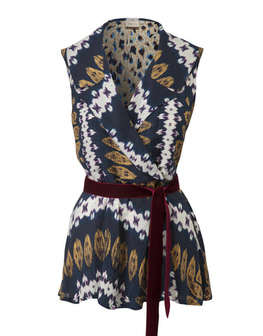 Bow Sleeveless Jacket - Ikat Blue