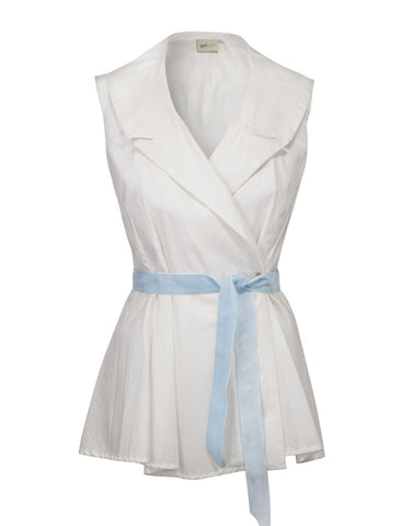 Bow Sleeveless Jacket - White