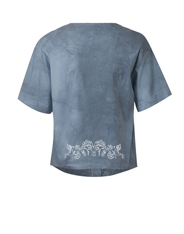 Embroidered Voile Shirt - Petrol