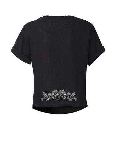 Embroidered Voile Shirt - Black