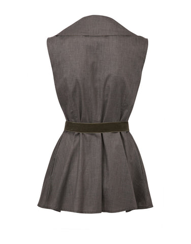 Bow Sleeveless Jacket - Olive Green